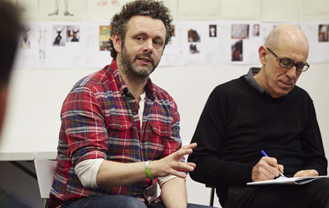 Michael Sheen, with Dave Bond, RWCMD Head of Actor Training, working with students this month