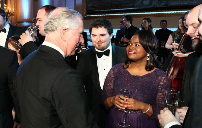 Chanae Curtis meeting HRH The Prince of Wales at the College's Gala at Buckingham Palace in January