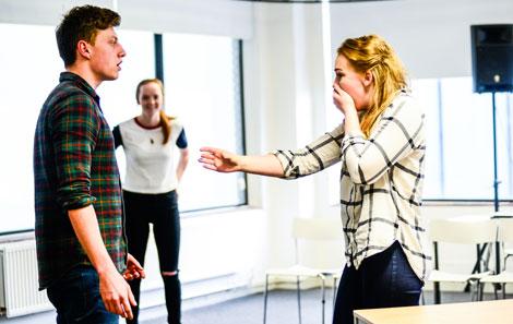 Actors rehearsing 'Ten Weeks'
