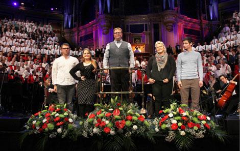 Singers Rhodri, Jess, Ed, Eirlys and Meilir with conductor Edward Rhys-Harris centre