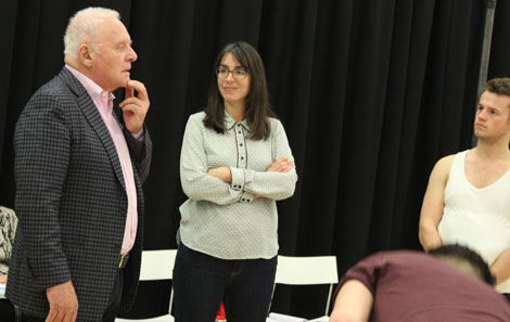 Sir Anthony working through a scene with director Adele Thomas and actor Joe Wiltshire-Smith