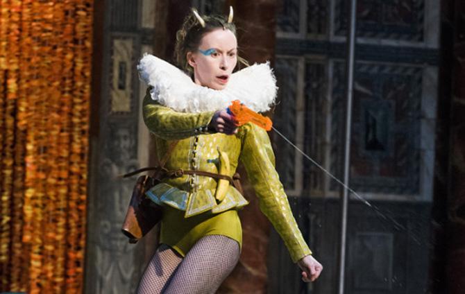 Katy Owen (Puck) in A Midsummer Night's Dream by William Shakespeare @ Shakespeare's Globe. Directed by Emma Rice. Choreographers Etta Murfitt & Emma Rice.Dramaturg,Tanika Gupta (Opening 05-05-16) ©Tristram Kenton 05/16 (3 Raveley Street, LONDON NW5 2HX TEL 0207 267 5550  Mob 07973 617 355)email: tristram@tristramkenton.com
