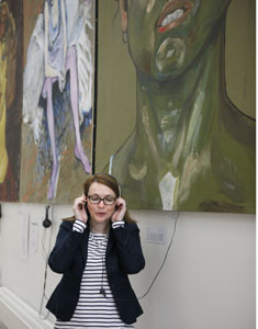 Kirsty Williams listens to sound installations inspired by design students paintings in the College's Linbury Gallery our Junior Conservatoire on Saturday.