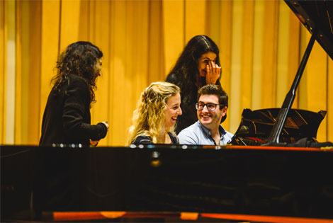 Labeque Sisters Masterclass at RWCMD Sioned and George