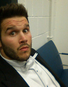 A pic from Trystan's Twitter account - backstage as he waits for the results of the Stoutzker Prize
