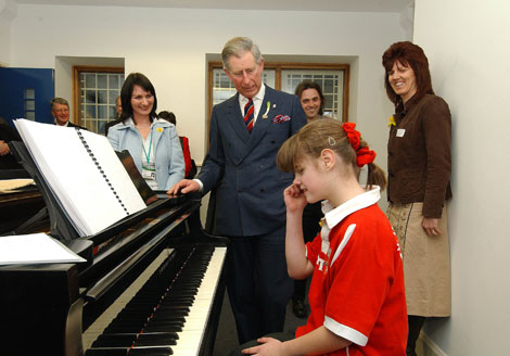 Rachel meeting Prince Charles when she was at RWCMD's Junior Conservatoire