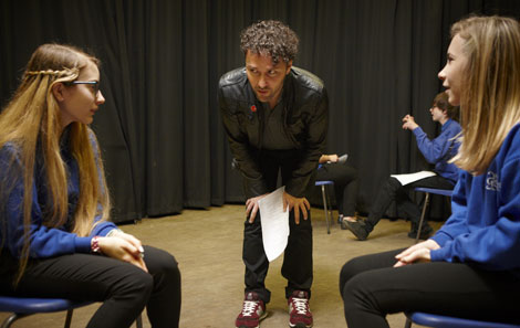 Waterloo Road actor Richard Mylan working with students from Ysgol Greenhill, Tenby
