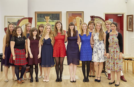 RWCMD Harp students with Catrin Finch & Caryl Thomas