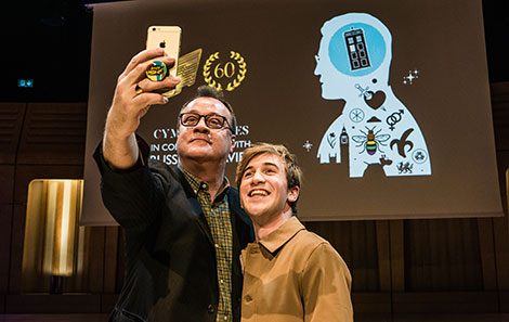 Callum with Russell T Davies when Russell came to RWCMD to give his BAFTACymru talk in 2019